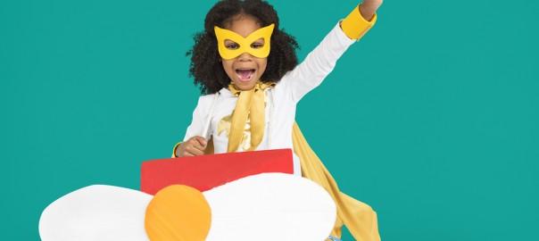 Children Playing Dress up Superhero Concept